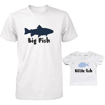 Big Fish and Little Fish Dad and Baby Matching Shirt Set Parent and Kid Cute Tops