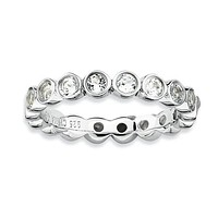 Sterling Silver Stackable Expressions Bezel Round White Topaz Eternity Ring