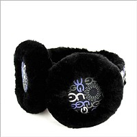 UGG winter warm earmuffs (printed LOGO) sheepskin fabric ear caps Black
