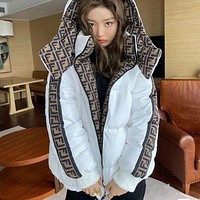 Fendi winter new double-sided hooded jacket women thick warm down cotton coat