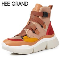 HEE GRAND Cross-tied Women Ankle Boots Slip on Platform Motorcycle Ankle Boots Winter Wedges Shoes Woman 2 Colors XWD6844