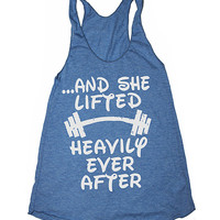 and she lifted happily ever after womens gym tank. womens workout tank tops. womens gym tank tops. cute weightlifting disney tank top.