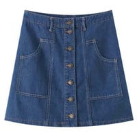Denim Mini A-Line Skirt