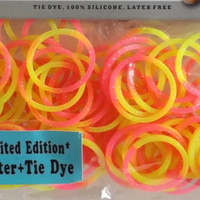 Loom rubber bands glitter Tie Dye yellow pink 100 count Glitter loom rubberbands and 4 S clips loom rubberbands to use with rainbow Loom #60