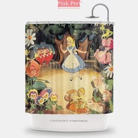 Alice Disney Vintage Poster Painting Shower Curtain Free shipping Home 218