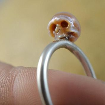 Hand Carved Pink Pearl Skull Sterling Silver Ring