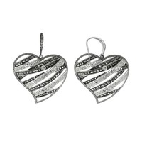 Lavish by TJM Sterling Silver Crystal Openwork Heart Drop Earrings - Made with Swarovski Marcasite (White)