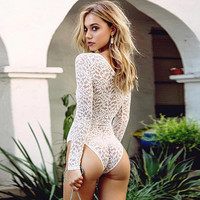 Fashion One Piece Jumpsuits Deep V Sexy White Lace Rompers S-XL