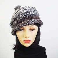 Chunky knit hat - Knit grey cloche - Ready to ship - Crochet winter hat - Woman knit hat - Woman winter hat - Teen girl hat - Roll brim hat