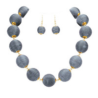 Grey & Gold Thread Ball Statement Necklace and Earring Set
