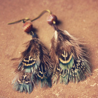 skye  a pair of soft teal feathered earrings by RootsandFeathers