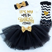 Baby Dress For Girls 4 Pcs Clothing Headband+Romper Tops+Mini Dress+Stockings Cute Style 1 Year Birthday Gift For Toddlers