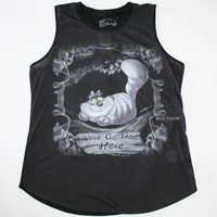Licensed cool DISNEY ALICE Through The LOOKING Glass CHESHIRE CAT Mad Here Smoke TANK TOP M-L