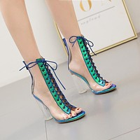 Summer Lace Up Transparent High Heel Large Size Women Chunky Sandals