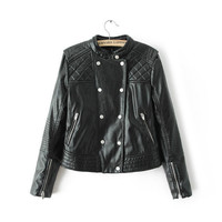 Black Double Button Quilted Faux Leather Biker Jacket