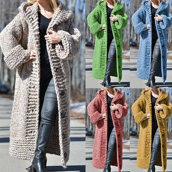 Explosive fashion knitted loose big button sweater