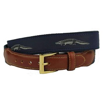 Richard the Friendly Alligator Leather Tab Belt in Navy by Country Club Prep