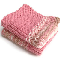Dishcloth Washcloth Pink and Beige Multicolored Handknit Set of Two