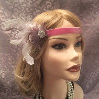 Gray Pink White Rhinestone Feather Flapper Headband Headpiece 1920's Gatsby Hair Jewelry Head Band 1920s piece ivory adjustable  (698)