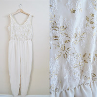 Heavenly Sight - Vintage 80s Cream Gold Lace Lightweight Pantsuit Romper Jumpsuit