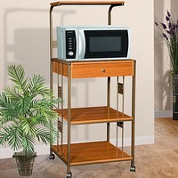 Steel & Wood Kitchen Utility Microwave Cart in Cherry