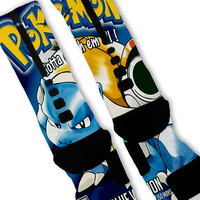 Pokemon Blue Fast Shipping!! Nike Elite Socks Customized Blastoise