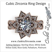 Cubic Zirconia Engagement Ring- 2.68 Carat Flower-Inspired Halo with Infinity Pave Band and Milgrain