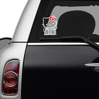 Hello Kitty Waving Car Decal - Two Color