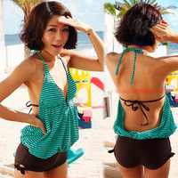 Womens One-piece String Stripes Halter Swimwear Swimsuit Bathing Suit