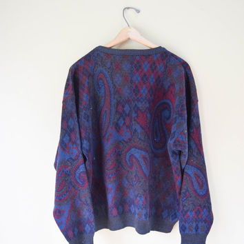 Vintage 80s Soft Wool Paisley Cosby Sweater Grunge