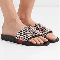 Gucci Casual Fashion Women Sandal With crystals Slipper Shoes