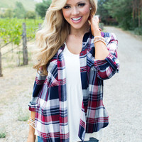 Picture This Navy/Burgundy Plaid Top