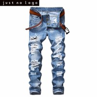 Cheap Mens Light Blue Skinny Ripped Jeans Straight Destroyed Holes Denim Pants for Men Party Streetwear Fashion Casual