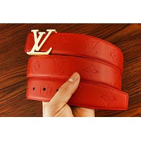 LV Louis Vuitton New fashion letter buckle monogram leather couple belt Red