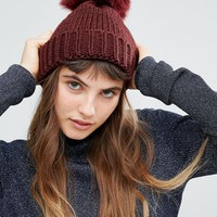 ALDO Ribbed Pom Beanie at asos.com
