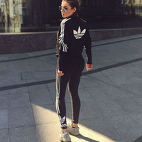 """Adidas"" Zip Cardigan Jacket Coat Sweatshirt / Running Leggings Sweatpants Two pieces"