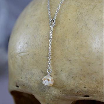 Hand Carved Pearl Skull Lariat Necklace