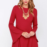 Best of My Love Wine Red Long Sleeve Dress