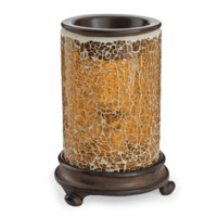 Crackled Amber Glass Candle Warmer