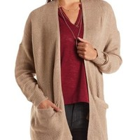 Slouchy Pocket Open Cardigan Sweater by Charlotte Russe - Brownie