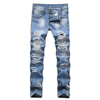 New Brand High quality 2018 Men's Jeans Stretch Destroyed Hole Ripped Design Fashion male Ankle Zipper Skinny Jeans For Men