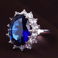 Girls Womens Old Silver Alloy Sapphire Ring Fashion Women Jewelry Best Gift Rings-066