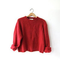 Vintage dark red sweater. Cropped sweater. Boxy pullover. ribbed knit sweater.