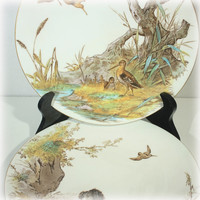 Antique Plate, Brownfield Son, Set of 2, Clayware, Hunting Scene, 1800s China, Haunt of the Snipes, Retrieving, Hunting Dog Pheasant