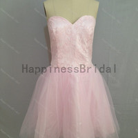 Pink tulle formal dress,short prom dress ,pink tulle prom dress with lace,short evening dress,hot sales dress,formal evening dress 2014