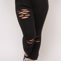 Plus Size Distressed Drawstring Sweats- Black
