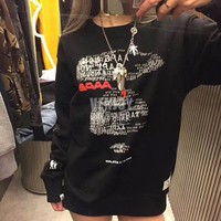 AAPE Woman Men Fashion Reflective Print Top Sweater Pullover