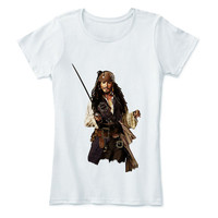 Johnny Depp Shirt T Jack Sparrow Movie Star Pirates Caribbean T-shirt Actor tee White Cotton Tee
