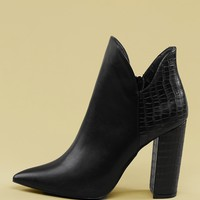 Croc Detail Chunky Heel Pointed Toe Booties