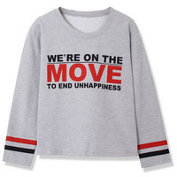ROMWE | English Words Print Grey Sweatshirt, The Latest Street Fashion